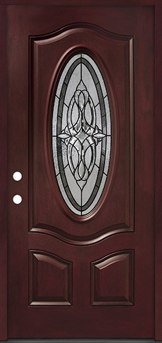 3/4 Oval #16 Pre-finished Fiberglass Door Prehung in Pre-finished Jambs