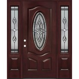 3/4 Oval #16 Pre-finished Fiberglass Door with Sidelites Prehung in Pre-finished Jambs