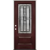 3/4 Lite Pre-finished Mahogany Fiberglass Prehung Door Unit #277