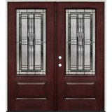 3/4 Lite Pre-finished Mahogany Fiberglass Prehung Double Door Unit #277