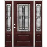 3/4 Lite Pre-finished Mahogany Fiberglass Prehung Door Unit with Sidelites #277