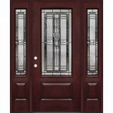 3/4 Lite #277 Pre-finished Fiberglass Door with Sidelites Prehung in Pre-finished Jambs