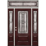 3/4 Lite Pre-finished Mahogany Fiberglass Prehung Door Unit with Transom #277