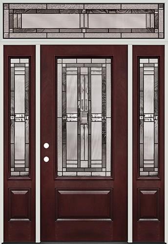 3/4 Lite Pre-finished Mahogany Fiberglass Prehung Door Unit with Transom #277