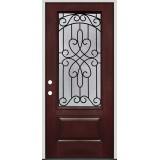 3/4 Lite Pre-finished Mahogany Fiberglass Prehung Door Unit #279