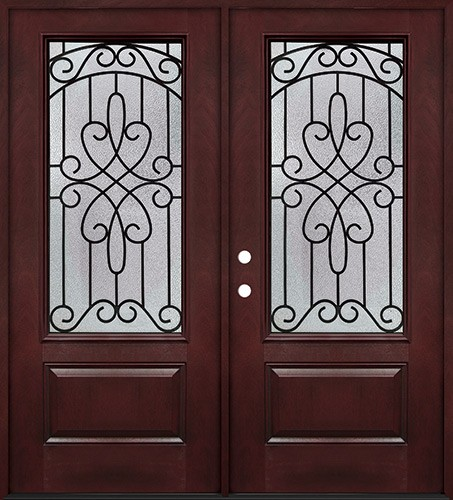 3/4 Lite #279 Pre-finished Fiberglass Double Doors Prehung in Pre-finished Jambs