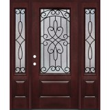 3/4 Lite #279 Pre-finished Fiberglass Door with Sidelites Prehung in Pre-finished Jambs