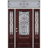 3/4 Lite Pre-finished Mahogany Fiberglass Prehung Door Unit with Transom #279