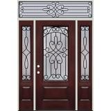 3/4 Lite Pre-finished Mahogany Fiberglass Prehung Door Unit with Transom #279