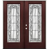 Full Lite Pre-finished Mahogany Fiberglass Prehung Double Door Unit #292