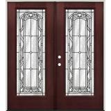 Full Lite Pre-finished Mahogany Fiberglass Prehung Double Door Unit #292