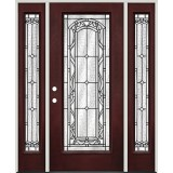 Full Lite Pre-finished Mahogany Fiberglass Prehung Door Unit with Sidelites #292