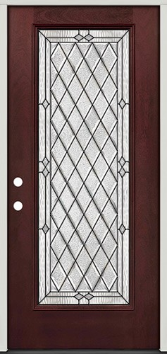 Diamond Full Lite Pre-finished Mahogany Fiberglass Prehung Door Unit #294
