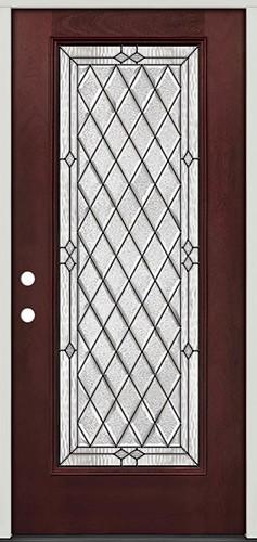 Diamond Full Lite Pre-finished Mahogany Fiberglass Prehung Door Unit #294