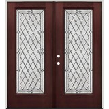 Diamond Full Lite Pre-finished Mahogany Fiberglass Prehung Double Door Unit #294