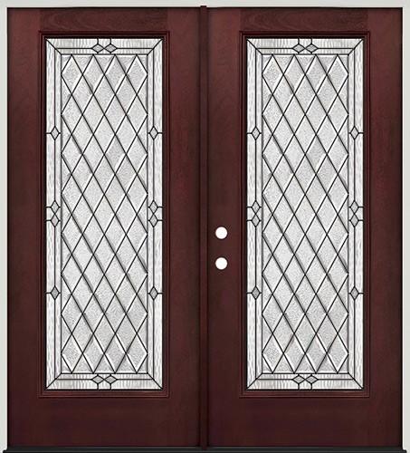 Diamond Full Lite Pre-finished Mahogany Fiberglass Prehung Double Door Unit #294
