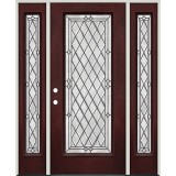 Diamond Full Lite Pre-finished Mahogany Fiberglass Prehung Door Unit with Sidelites #294