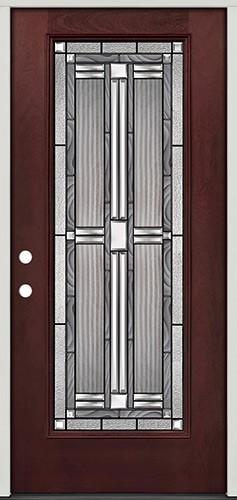 Full Lite Pre-finished Mahogany Fiberglass Prehung Door Unit #297