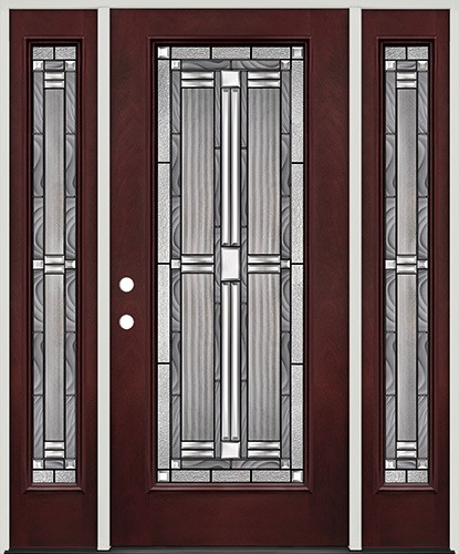 Full Lite Pre-finished Mahogany Fiberglass Prehung Door Unit with Sidelites #297