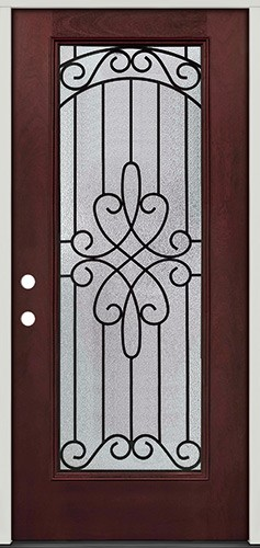 Full Lite Pre-finished Mahogany Fiberglass Prehung Door Unit #299