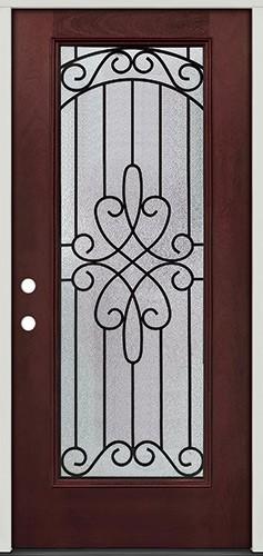Full Lite Pre-finished Mahogany Fiberglass Prehung Door Unit #299