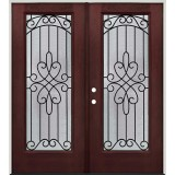 Full Lite Pre-finished Mahogany Fiberglass Prehung Double Door Unit #299