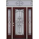 Full Lite Pre-finished Mahogany Fiberglass Prehung Door Unit with Transom #299