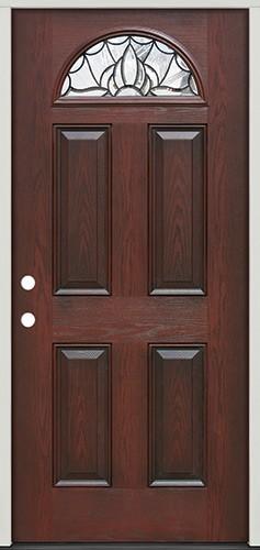 Deco Fan Lite Pre-finished Mahogany Fiberglass Prehung Door Unit #33