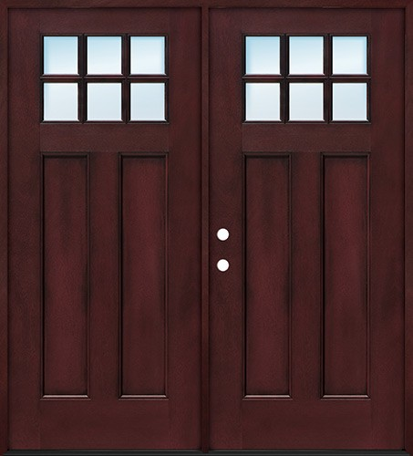 Craftsman 6-Lite Pre-finished Fiberglass Double Doors Prehung in Pre-finished Jambs