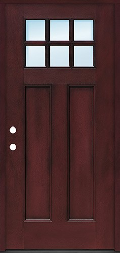 Craftsman 6-Lite Pre-finished Fiberglass Door Prehung in Pre-finished Jambs