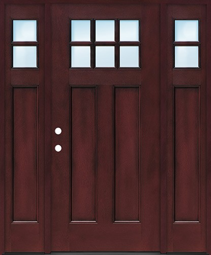 Craftsman 6-Lite Pre-finished Fiberglass Door with Sidelites Prehung in Pre-finished Jambs