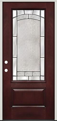 3/4 Lite Pre-finished Mahogany Fiberglass Prehung Door Unit #67