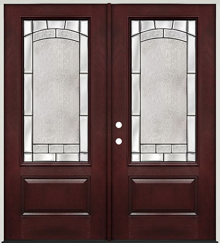 3/4 Lite Pre-finished Mahogany Fiberglass Prehung Double Door Unit #67