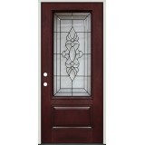 3/4 Lite Pre-finished Mahogany Fiberglass Prehung Door Unit #73