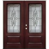 3/4 Lite Pre-finished Mahogany Fiberglass Prehung Double Door Unit #73