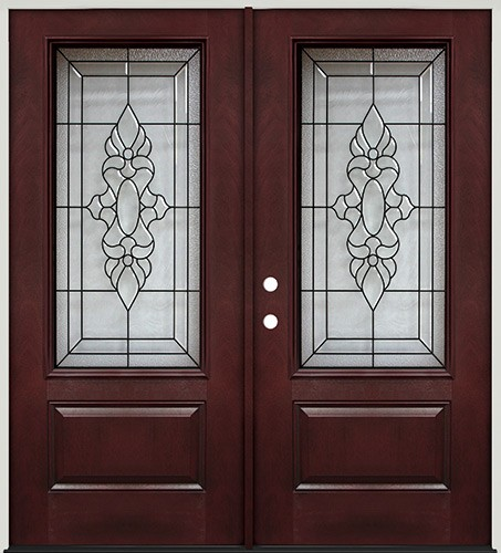 3/4 Lite Pre-finished Mahogany Fiberglass Prehung Double Door Unit #73