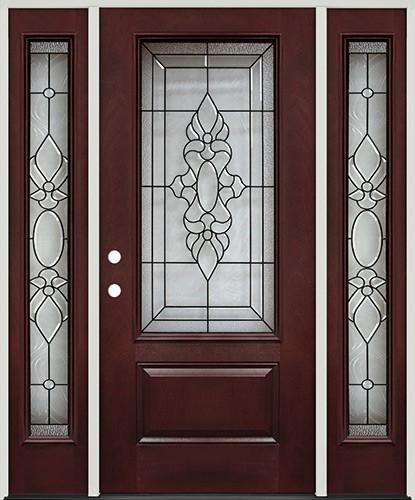3/4 Lite Pre-finished Mahogany Fiberglass Prehung Door Unit with Sidelites #73