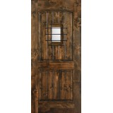 Hamilton 2-Panel Arch with Grille Knotty Alder Wood Door Slab #7624