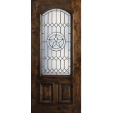 Hamilton Star 2/3 Arch Lite Knotty Alder Wood Door Slab #7654