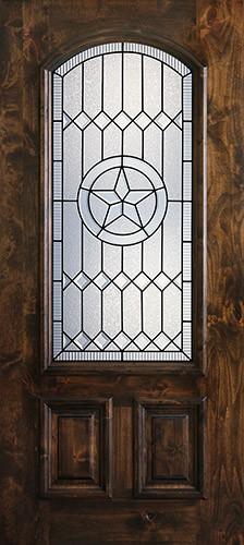 Hamilton Star 2/3 Arch Lite Knotty Alder Wood Door Slab #7654