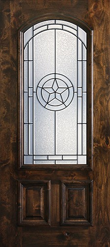 Hamilton Star 2/3 Arch Lite Knotty Alder Wood Door Slab #7661