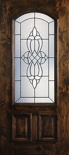 Hamilton 2/3 Arch Lite Knotty Alder Wood Door Slab #7663