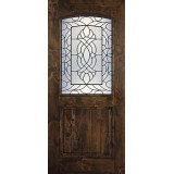 Hamilton 1/2 Arch Lite Knotty Alder Wood Door Slab #7681