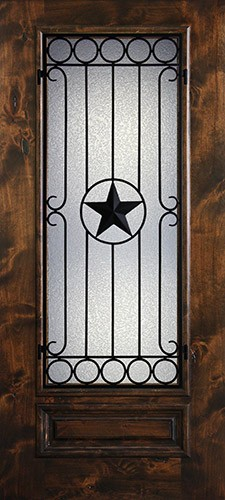 Hamilton Star 3/4 Lite Grille Knotty Alder Wood Door Slab #7723