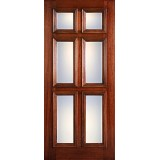 Hamilton 6-Panel Glass Mahogany Wood Door Slab #7093