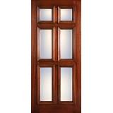 Hamilton 6-Panel Glass Mahogany Wood Door Slab #7093