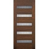 Hamilton Modern 5-Lite Mahogany Wood Door Slab #71091