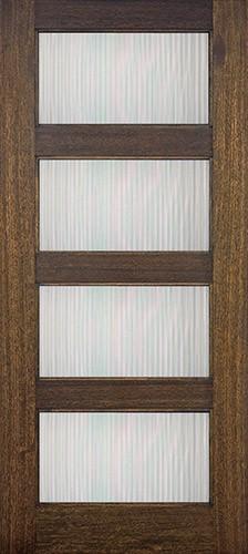 Hamilton Modern 4-Lite Mahogany Wood Door Slab #71092