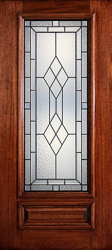 Hamilton 3/4 Lite Mahogany Wood Door Slab #7122