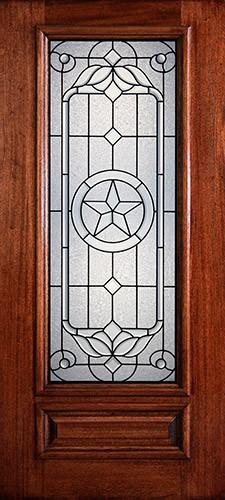 Hamilton Star 3/4 Lite Mahogany Wood Door Slab #7144